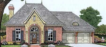 European, One-Story, Traditional House Plan 66011 with 3 Beds , 3 Baths , 3 Car Garage Elevation