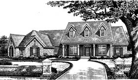 Country, One-Story House Plan 66012 with 3 Beds, 3 Baths, 3 Car Garage Front Elevation
