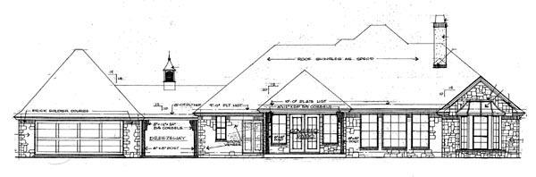 European Tudor House Plan 66013 Rear Elevation