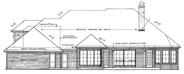 House Plan 66017 Rear Elevation