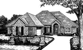 House Plan 66019 | European Style Plan with 1795 Sq Ft, 3 Bedrooms, 2 Bathrooms Elevation