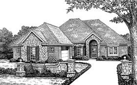 House Plan 66020 | European, Traditional Style House Plan with 1912 Sq Ft, 3 Bed, 2 Bath, 2 Car Garage Elevation