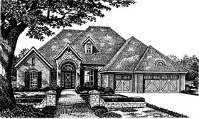 House Plan 66023 | European Tudor Style Plan with 2526 Sq Ft, 4 Bedrooms, 4 Bathrooms, 2 Car Garage Elevation
