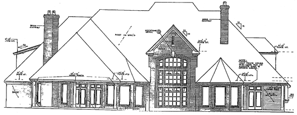 European, French Country, Tudor, Victorian House Plan 66026 with 5 Beds, 6 Baths, 4 Car Garage Rear Elevation