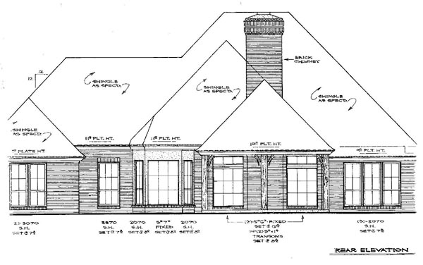 European Tudor House Plan 66027 Rear Elevation