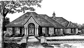 European, One-Story House Plan 66028 with 4 Beds, 4 Baths, 3 Car Garage Elevation