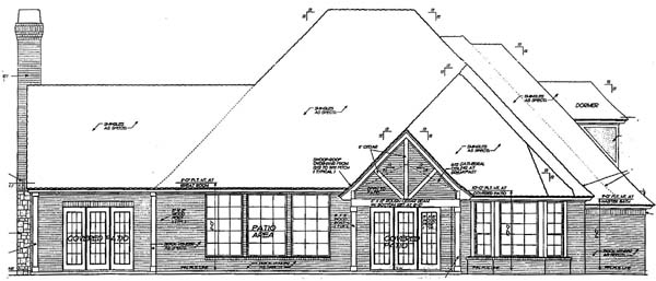 House Plan 66030 | European French Country Tudor Style Plan with 3537 Sq Ft, 3 Bedrooms, 4 Bathrooms, 2 Car Garage Rear Elevation
