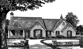 Country, One-Story, Traditional House Plan 66035 with 3 Beds, 3 Baths, 3 Car Garage Elevation