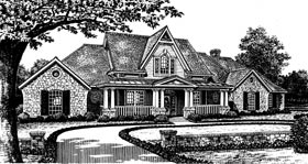 Country, French Country, One-Story House Plan 66038 with 4 Beds, 4 Baths, 3 Car Garage Elevation