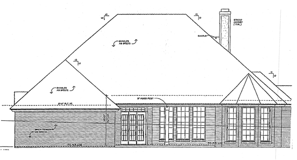 European Tudor House Plan 66039 Rear Elevation