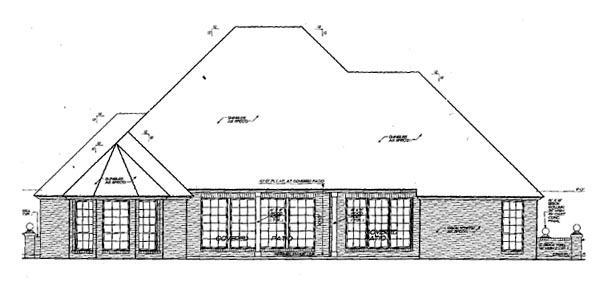 European House Plan 66040 Rear Elevation