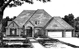 European, One-Story House Plan 66041 with 4 Beds, 3 Baths, 3 Car Garage Elevation
