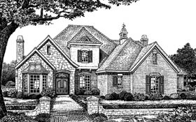 European , French Country , Traditional , Tudor House Plan 66042 with 4 Beds, 4 Baths, 3 Car Garage Elevation