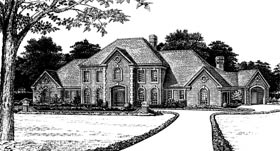 Colonial , French Country House Plan 66046 with 5 Beds, 5 Baths, 3 Car Garage Elevation