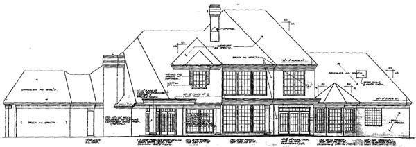 Colonial , French Country House Plan 66046 with 5 Beds, 5 Baths, 3 Car Garage Rear Elevation