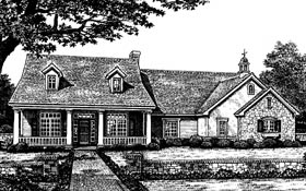 Colonial , Country House Plan 66048 with 3 Beds, 3 Baths, 3 Car Garage Elevation