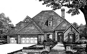 European House Plan 66049 with 4 Beds, 4 Baths, 3 Car Garage Elevation