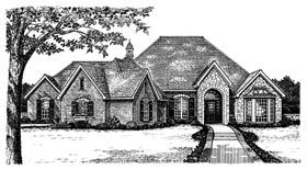 European, One-Story, Tudor, Victorian House Plan 66053 with 3 Beds, 3 Baths Elevation