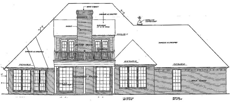 European, One-Story, Tudor, Victorian House Plan 66053 with 3 Beds, 3 Baths Rear Elevation