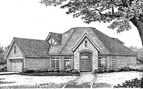 Tudor , European House Plan 66054 with 3 Beds, 3 Baths, 2 Car Garage Elevation