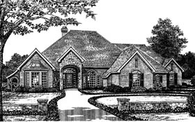European One-Story Elevation of Plan 66056
