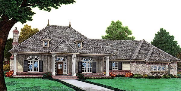 Country , French Country House Plan 66057 with 2 Beds, 2 Baths, 2 Car Garage Elevation