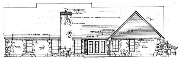 One-Story Rear Elevation of Plan 66058