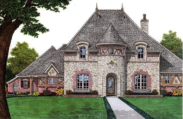 French Country House Plan 66059 with 4 Beds, 4 Baths, 3 Car Garage Elevation