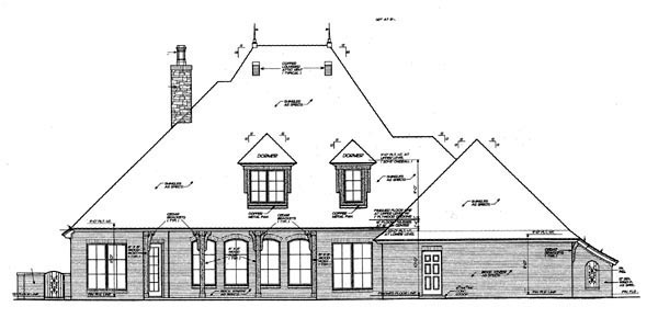 French Country House Plan 66059 with 4 Beds, 4 Baths, 3 Car Garage Rear Elevation