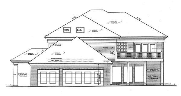 European French Country House Plan 66064 Rear Elevation