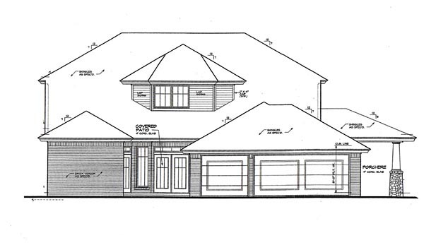 European House Plan 66065 Rear Elevation