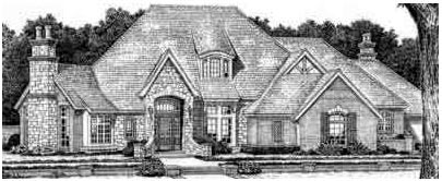 European, French Country, Tudor House Plan 66069 with 4 Beds, 5 Baths, 3 Car Garage Elevation