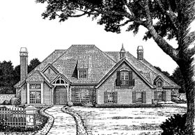 European French Country Tudor Victorian Elevation of Plan 66070