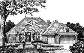 One-Story Tudor Elevation of Plan 66073