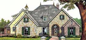 House Plan 66074 | European Tudor Style Plan with 2462 Sq Ft, 4 Bedrooms, 3 Bathrooms, 3 Car Garage Elevation