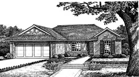 One-Story, Traditional, Tudor House Plan 66079 with 3 Beds, 2 Baths, 2 Car Garage Front Elevation