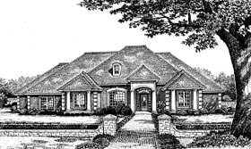 House Plan 66091 | European Traditional Style Plan with 2606 Sq Ft, 3 Bedrooms, 3 Bathrooms, 2 Car Garage Elevation