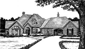 European House Plan 66099 with 3 Beds, 4 Baths, 2 Car Garage Elevation