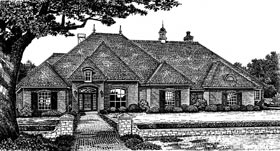European House Plan 66100 with 4 Beds, 4 Baths, 3 Car Garage Elevation