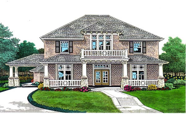 Craftsman, European, French Country House Plan 66104 with 5 Beds, 4 Baths, 3 Car Garage Front Elevation