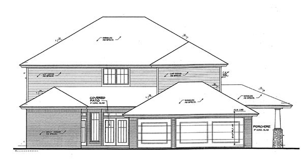 Craftsman, European, French Country House Plan 66104 with 5 Beds, 4 Baths, 3 Car Garage Rear Elevation
