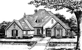 Tudor House Plan 66108 with 4 Beds, 4 Baths, 3 Car Garage Elevation