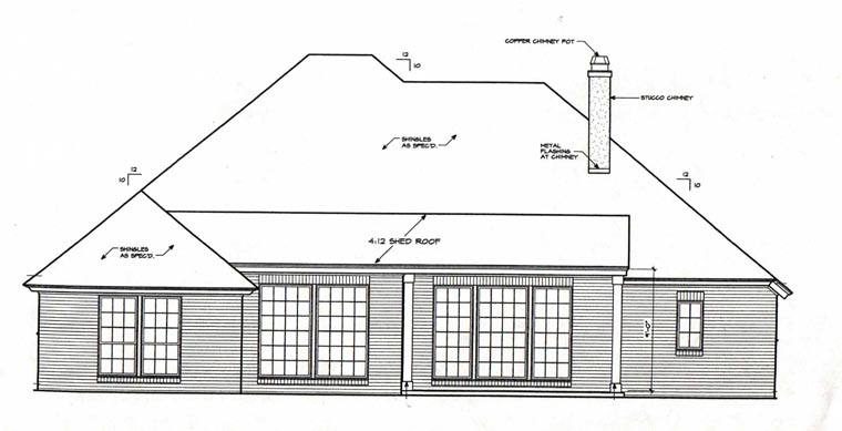 European Traditional House Plan 66113 Rear Elevation