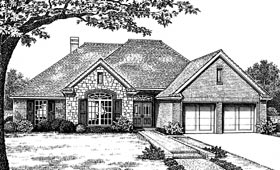 Traditional House Plan 66114 with 4 Beds, 2 Baths, 2 Car Garage Elevation