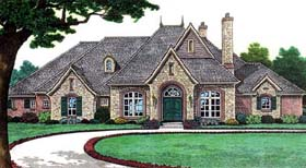 Bungalow, European, French Country, One-Story, Traditional House Plan 66115 with 4 Beds, 4 Baths, 3 Car Garage Elevation