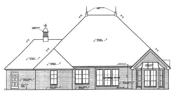 European House Plan 66116 Rear Elevation