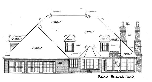 European , French Country , Rear Elevation of Plan 66117