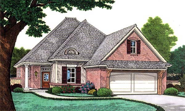 House Plan 66119 | European Style Plan with 1806 Sq Ft, 3 Bedrooms, 2 Bathrooms, 2 Car Garage Elevation