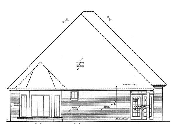 House Plan 66119 | European Style Plan with 1806 Sq Ft, 3 Bedrooms, 2 Bathrooms, 2 Car Garage Rear Elevation