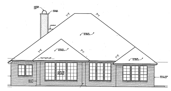 House Plan 66120 Rear Elevation